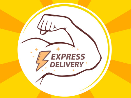manly: Vector illustration of strong man hand with  icon of express delivery on yellow background. Manly line art design for web, site, advertising, banner, poster, board and print.