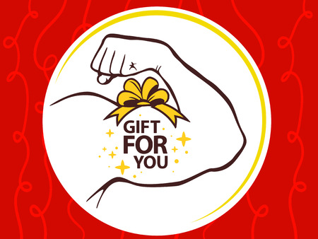 manly: Vector illustration of strong man hand with  icon of gift for you on red pattern background. Manly line art design for web, site, advertising, banner, poster, board and print.