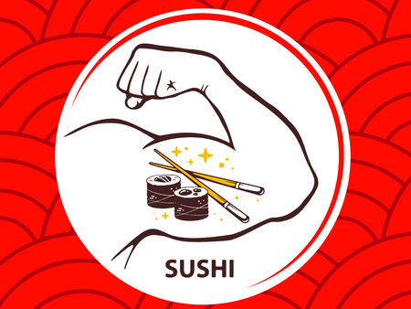 manly: Vector illustration of strong man hand with  icon of sushi on red pattern background. Manly line art design for web, site, advertising, banner, poster, board and print.