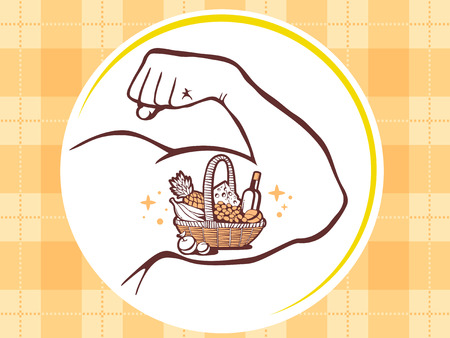 manly: Vector illustration of strong man hand with  icon of basket with food on yellow pattern background. Manly line art design for web, site, advertising, banner, poster, board and print. Illustration