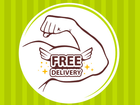 sexy muscular man: Vector illustration of strong man hand with  icon of free delivery on green pattern background. Manly line art design for web, site, advertising, banner, poster, board and print. Illustration