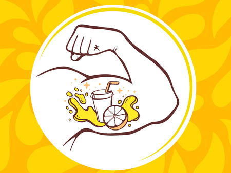manly: Vector illustration of strong man hand with  icon of fresh fruit juice on yellow pattern background. Manly line art design for web, site, advertising, banner, poster, board and print. Illustration