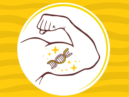 sexy muscular man: Vector illustration of strong man hand with  icon of dna molecule chain on yellow pattern background. Manly line art design for web, site, advertising, banner, poster, board and print.