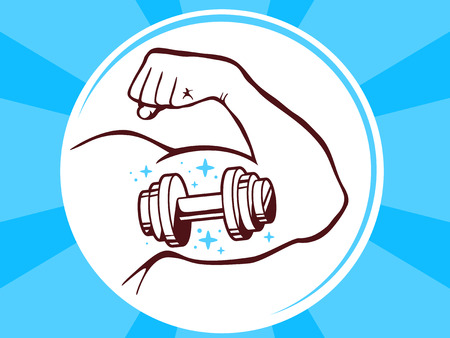 manly: Vector illustration of strong man hand with  icon of dumbbell on blue pattern background. Manly line art design for web, site, advertising, banner, poster, board and print. Illustration