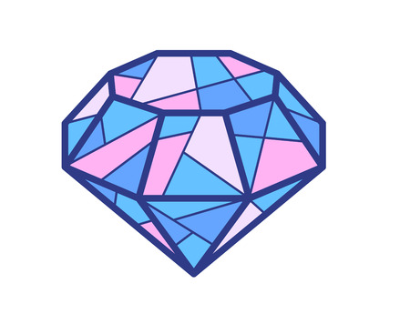 topaz: Vector illustration of blue and pink diamond on white background. Bright color line art design for web, site, advertising, banner, flyer, poster, board and print.