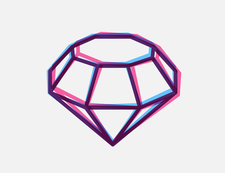 unbreakable: Vector illustration of blue and red 3d anaglyph style diamond on white background. Bright color line art design for web, site, advertising, banner, flyer, poster, board and print.