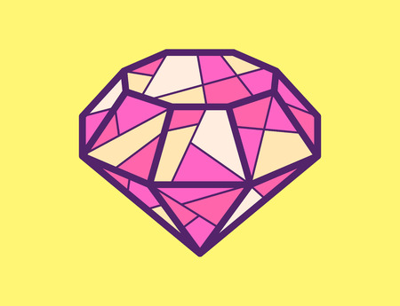 Vector Illustration Of Red Ruby On Yellow Background Bright Color Line Art Design For Web