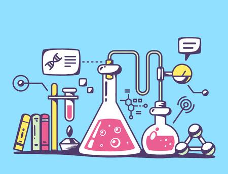 Ilustración vectorial de frascos de laboratorio químico rojo y amarillo sobre fondo azul. Diseño brillante arte línea de color para web, sitio, publicidad, bandera, folleto, cartel, bordo y de impresión.