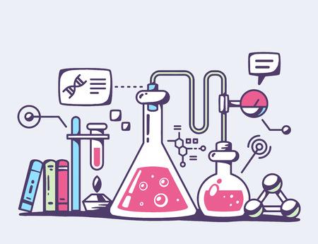 Ilustración vectorial de frascos de laboratorio químico de color rojo sobre fondo gris. Diseño brillante arte línea de color para web, sitio, publicidad, bandera, folleto, cartel, bordo y de impresión.