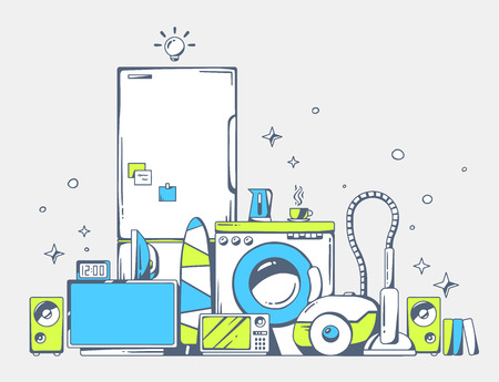 Vector illustration of large pile of blue and green household appliances standing  on each other on light gray background. Color line art design for web, site, advertising, banner, poster, board and print.
