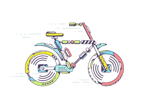 moving site: Vector illustration of unique mountain bicycle moving fast on light background leaving trace. Color line art design for web, site, advertising, banner, poster, board and print.