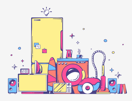 Vector illustration of large pile of bright household appliances standing on each other on light gray background. Color line art design for web, site, advertising, banner, poster, board and print. Vector