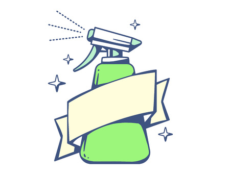 cleaning equipment: Vector illustration of green spray pistol with ribbon on light background. Colorful line art design for web, site, advertising, banner, poster, board, poster and print.