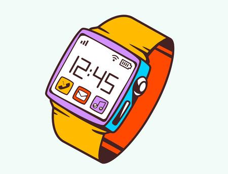 Vector illustratie van rode slimme horloge met knop op witte achtergrond. Heldere kleuren hand trekt lijntekeningen ontwerp voor web, website, reclame, banner, poster, board en afdrukken. Stock Illustratie