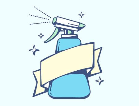 servicio domestico: Ilustración del vector de la pistola de pulverización con cinta azul sobre fondo claro. El diseño del arte Línea colorida para web, sitio, publicidad, bandera, cartel, tablero, cartel y de impresión.