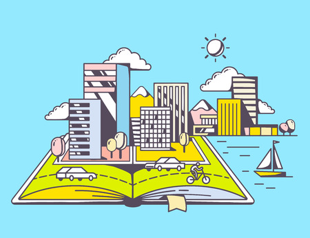 lake district: Vector linear illustration of cartoon open book with modern city on blue background. Color hand draw line art design for web, site, advertising, banner, poster, board and print.