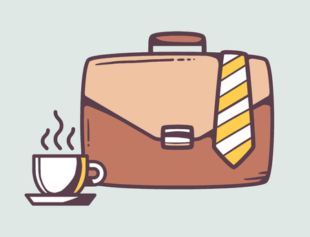 business case: Vector linear illustration of brown business case with cup of coffee and tie on gray background. Color hand draw line art design for web, site, advertising, banner, poster, board and print.