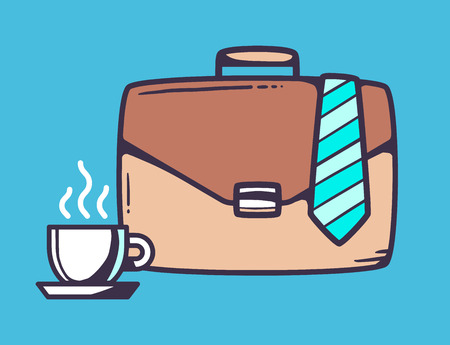 business case: Vector linear illustration of brown business case with cup of coffee and tie on blue background. Color hand draw line art design for web, site, advertising, banner, poster, board and print.