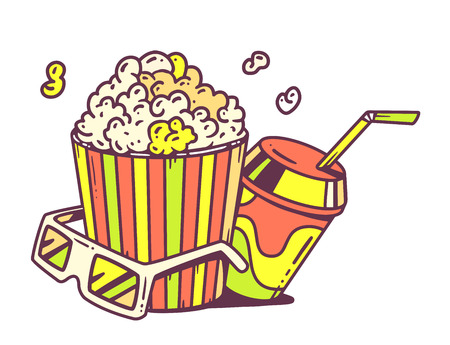 Vector linear illustration of pop corn with juice and anaglyph glasses for 3d on white background. Retro color hand draw line art design for web, site, advertising, banner, poster, board and print.