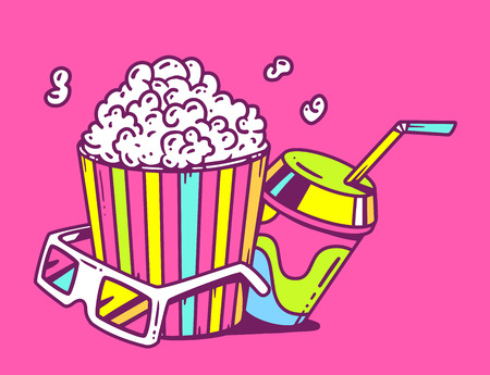 pop corn: Vector linear illustration of pop corn with juice and anaglyph glasses for 3d on pink background. Glamorous color hand draw line art design for web, site, advertising, banner, poster, board and print.