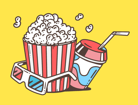 eating popcorn: Vector linear illustration of pop corn with juice and anaglyph glasses for 3d on yellow background. Classic color hand draw line art design for web, site, advertising, banner, poster, board and print.
