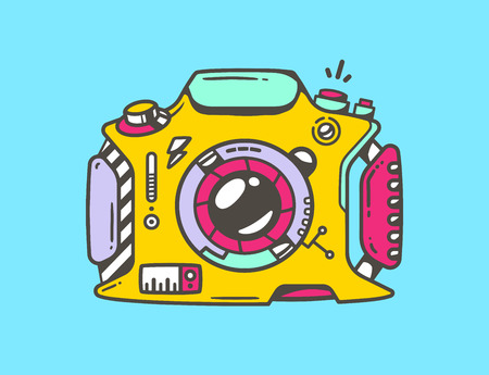 yellow photo: Vector linear illustration of yellow photo camera on blue background. Colorful hand draw pop art design for web, site, advertising, banner, poster, board and print.