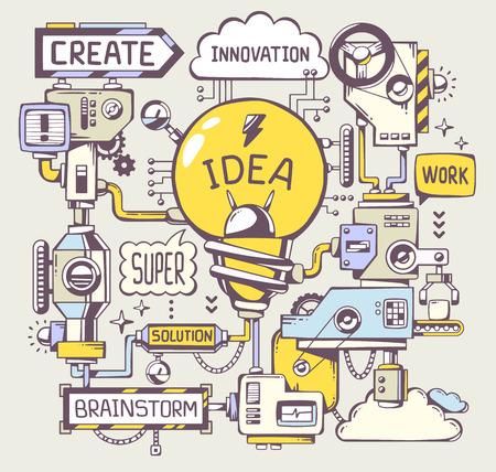 inteligencia: Ilustración vectorial de trabajo exitoso modelo de bombilla de luz amarilla con la palabra clave en un fondo gris. Línea arte de dibujar a mano de diseño para la web, web, publicidad, bandera, cartel, bordo y de impresión. Vectores