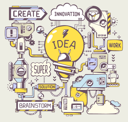 machines: Vector illustration of successful model work of yellow light bulb with key word on a gray background. Line art hand draw design for web, site, advertising, banner, poster, board and print. Illustration