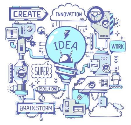 ボールペン キーワード白い背景の上に青色の電球の成功モデル仕事のベクトル イラスト。ライン アート手描くの web サイト、広告、バナー、ポスタ  イラスト・ベクター素材