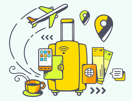 Vector illustration of yellow suitcase and travel accessories on light background. Hand draw line art design for web, site, advertising, banner, poster, board and print. Illustration