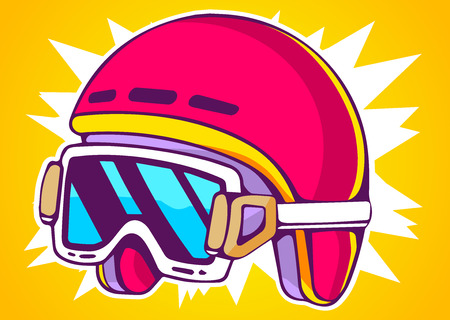 Vector illustration of red fashion helmet on yellow background. Hand draw line art design for web, site, advertising, banner, poster, board and print. Vector