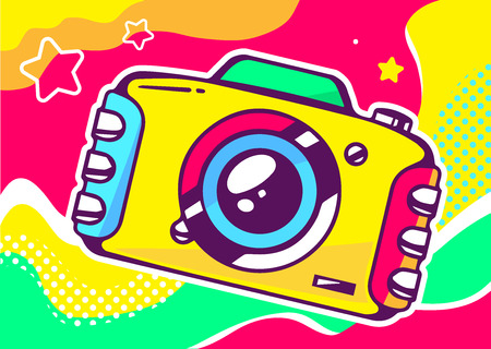 yellow photo: Vector illustration of yellow photo camera on a colored background with waves and stars. Hand draw line art design for web, site, advertising, banner, poster, board and print. Illustration