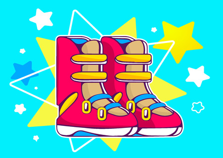 calzado de seguridad: Ilustraci�n vectorial de las botas rojas en azul estrellas de fondo. Dise�o de la l�nea de arte drenaje de la mano para la web, sitio, publicidad, bandera, cartel, bordo y de impresi�n. Vectores