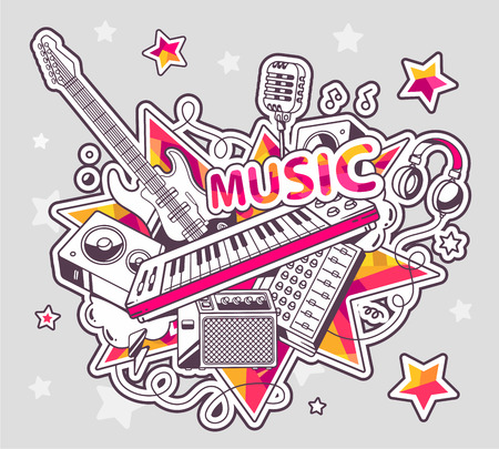 Vector illustration of colored set of musical instruments on a gray background with stars. Hand draw line art design for web, site, advertising, banner, poster, board and print. Vector