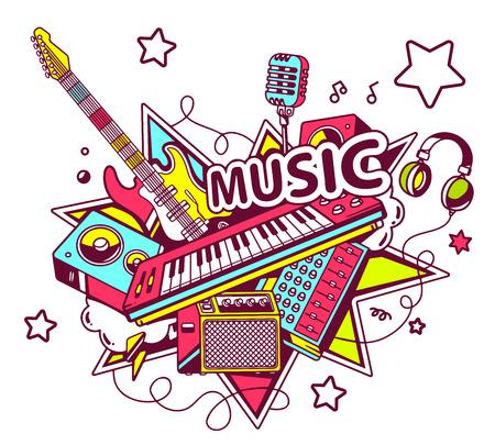 星と明るい背景に楽器の色セットのベクター イラストです。手は web、サイト、広告、バナー、ポスター、掲示板および印刷のライン アート デザイ