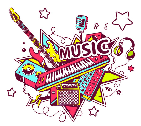 Vector illustration of colored set of musical instruments on a light background with stars. Hand draw line art design for web, site, advertising, banner, poster, board and print. Ilustração