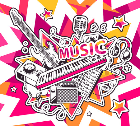 Vector illustration of red and yellow set of musical instruments on background with stars. Hand draw line art design for web, site, advertising, banner, poster, board and print. Vector