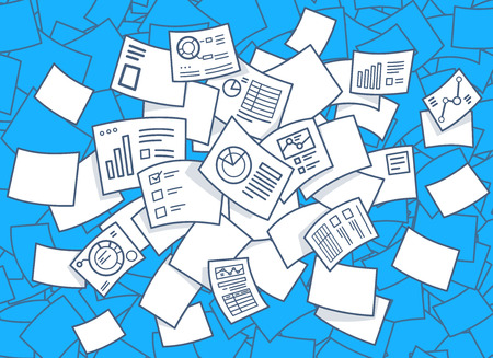 Ilustración vectorial de conjunto de volar documentos financieros con los diagramas sobre un fondo azul. Diseño de la línea de arte drenaje de la mano para la web, web, publicidad, bandera, cartel, bordo y de impresión.