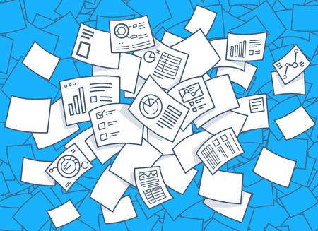 documentos: Ilustraci�n vectorial de conjunto de volar documentos financieros con los diagramas sobre un fondo azul. Dise�o de la l�nea de arte drenaje de la mano para la web, web, publicidad, bandera, cartel, bordo y de impresi�n. Vectores