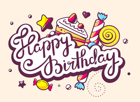 felicitaciones cumplea�os: Ilustraci�n del vector del texto de la caligraf�a feliz cumplea�os con dulces sobre fondo claro. Dise�o de la l�nea de arte drenaje de la mano para la web, web, publicidad, bandera, cartel, bordo y de impresi�n. Vectores