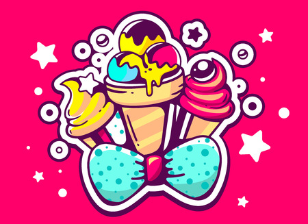 sweetness: Vector illustration of set yellow and pink ice creams with blue bow on crimson background with star and dot. Hand drawn line art design for web, site, advertising, banner, poster, board and print.