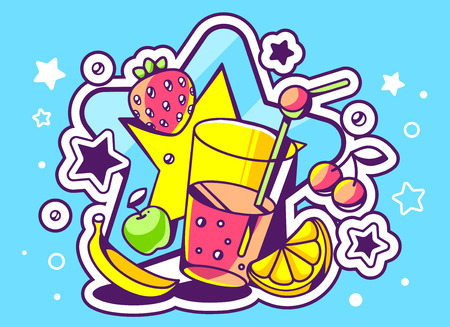 Vector illustration of glass of juice with fruits on blue background with big star. Hand draw line art design for web, site, advertising, banner, poster, board and print.