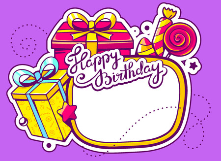confection: Vector illustration of gift boxes and confection with frame on purple background with star and dot. Hand draw line art design for web, site, advertising, banner, poster, board and print.