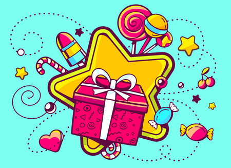 Vector illustration of gift box and confection  on green background with star and dot. Hand draw line art design for web, site, advertising, banner, poster, board and print.