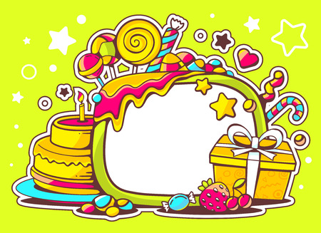 Vector illustration of cake, gift and sweets with frame on green background with star and dot. Hand draw line art design for web, site, advertising, banner, poster, board and print.