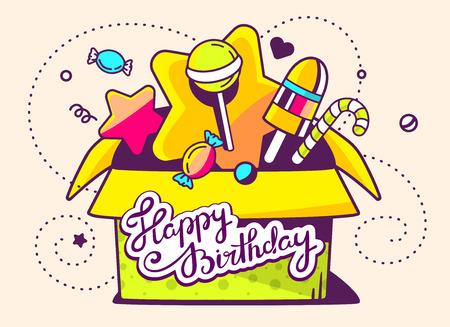 Ilustración vectorial de verde caja de regalo abierto y dulces con el texto feliz cumpleaños sobre fondo claro con la estrella y punto. Diseño de la línea de arte drenaje de la mano para la web, web, publicidad, bandera, cartel, bordo y de impresión.