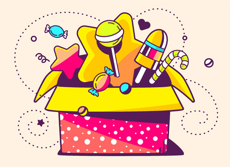 赤いオープンのギフト ボックスや星とドットの光の背景にお菓子のベクトル イラスト。手描きライン アート デザイン web、サイト、広告、バナー、