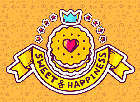 orange pattern: Vector illustration of cookie top view with text sweet&happiness with star and crown  on orange pattern background. Hand draw line art design for web, site, advertising, banner, poster, board and print.