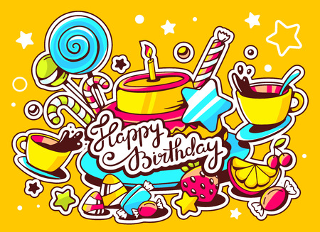 Vector illustration of cake with candle, sweets and cup of tea with text happy birthday on yellow background with star and dot. Hand draw line art design for web, site, advertising, banner, poster, board and print. Vector