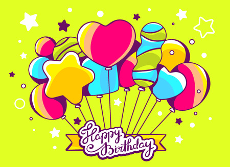 welcom: Vector illustration of festive bunch of colorful striped balloons with ribbon and text happy birthday on green background. Hand draw line art design for web, site, advertising, banner, poster, board and print.